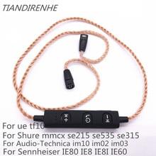 Mmcx bluetooth fone de ouvido adater para shure se215 se535 se846 ue900 tf10 tf15 sennheise ie80 ie8 28 núcleo fio trançado de cobre puro