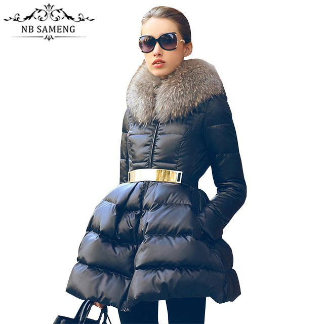 Women Winter Down  Jacket Coat Cloak 2017 New Luxury Fur Collar Girls Long Jacket Parka Black Size S-XL Free Shipping