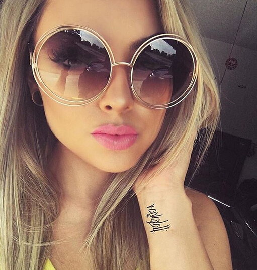 Vintage Round Big Size Oversized Lens Mirror  Sunglasses Women Brand Designer Metal Frame Lady Sun Glasses  Lady Cool Retro