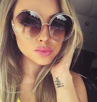 Vintage rond grande taille surdimensionné lentille miroir lunettes de soleil femmes marque Designer métal cadre dame lunettes de soleil dame Cool rétro