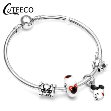 CUTEECO Cartoon Mickey Minnie Mouse Charm Bracelets&Bangles For Women Kids Gifts Jewelry Accessories