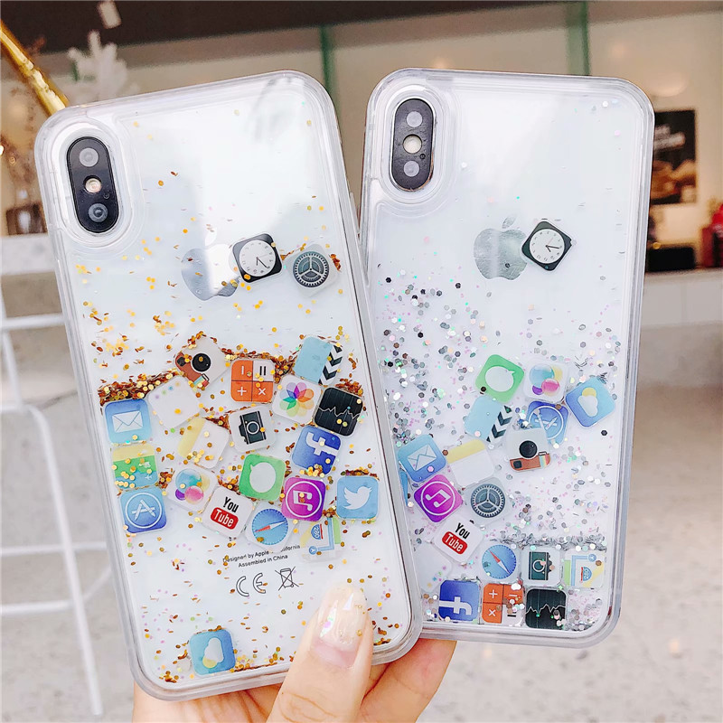 Cute Apps Icon Glitter Quicksand Case for iPhone 6 6S 7 8 Plus Dynamic Liquid Hard PC Cover For iPhone X XS XS Max XR Clear Case image