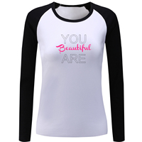 You Are Beautiful Letter Print Long Sleeve T Shirt Women Lady Girl Tshirt Your Attitude Determines