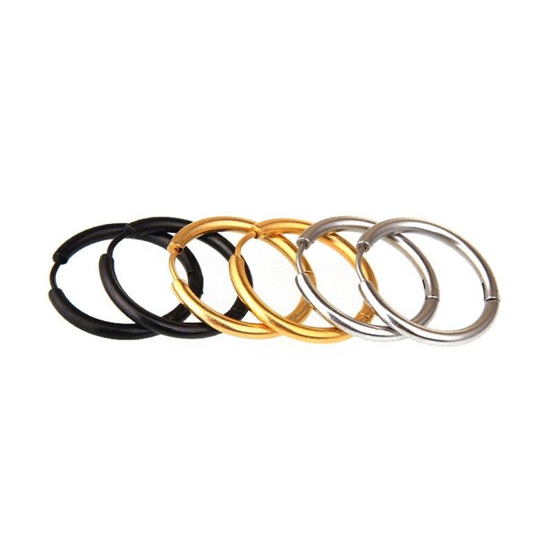 2pcs Simple Geometric Round Stainless Steel Hoop Earrings for Women Punk Men Hip Hop Circle Minimalist Ear Jewelry 8-20mm