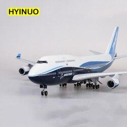 1/150 escala 47CM avión Boeing B747 avión internacional avión modelo W luz y rueda Diecast Avión de resina plástica