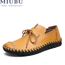 MIUBU Men Leather Shoes Casual Fashion For Designer Genuine Breathable Mens Loafers