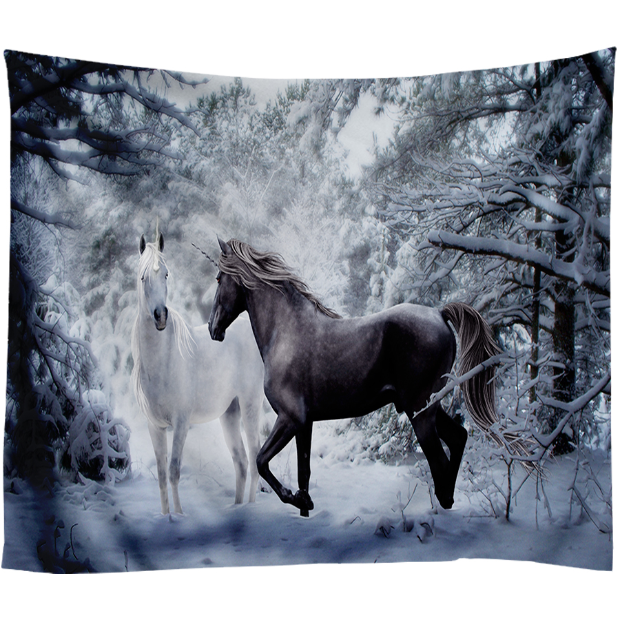 Snow Unicorn Decoration Tapestry Wall Hanging Background Cloth Christmas Psychedelic Wall Carpet Camping Tent Travel Mattres in Tapestry from Home Garden