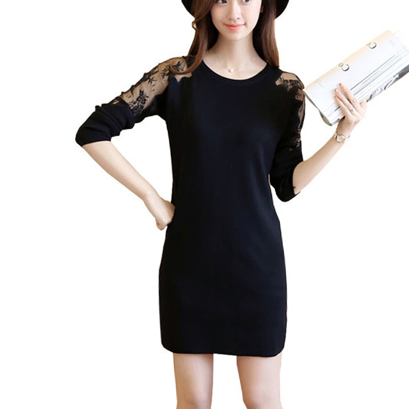 add new new lace Dress Stitching Slim Loose jacket Sexy Party Dresses dress Ladies Office Autumn Winter