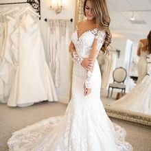 kissbridal Wedding Dresses Long Sleeve V-neck Bride Dress
