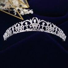 Bavoen Sparkling Zircon เจ้าสาว Tiaras Crowns ใบเจ้าสาว Headbands คริสตัลงานแต่งงานอุปกรณ์เสริมผมเย็นผมเครื่องประดับ