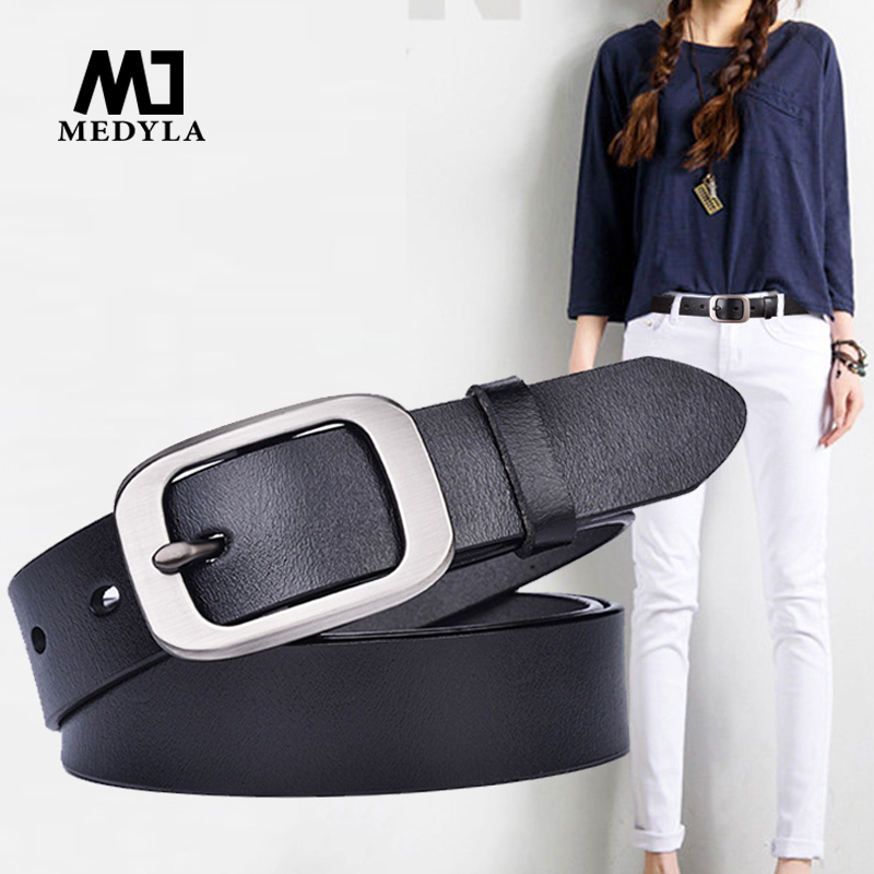 MEDYLA Ladies Leather Cowhide Belt Buckle Button Buckle Casual Simple Wild Student Wide Tide Jeans Belt