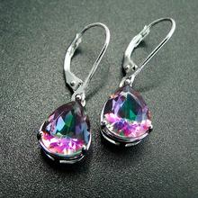 DJ CH Pear Cut 8*10mm Fire Rainbow Mystic Topaz Drop Earrings Solid 925 Sterling Silver Women Vintage Fashion Fine Jewelry