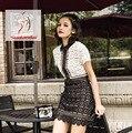 Высокого класса пользовательских автопортрет стиль белый черное кружево с коротким рукавом сексуальные женщины 2017 мода взлетно-посадочной полосы повседневная мини лоскутное dress