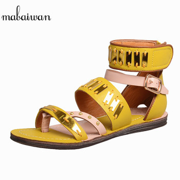 Mabaiwan Casual Women Sandals Buckle Genuine Leather Slippers Rivet Ladies Gladiator Shoes Woman Zapatos Mujer Flats Flip Flops
