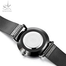 Shengke Fashion Black Women Watches High Quality Ultra thin Quartz Watch Woman Elegant Dress Ladies Watch Montre Femme SK