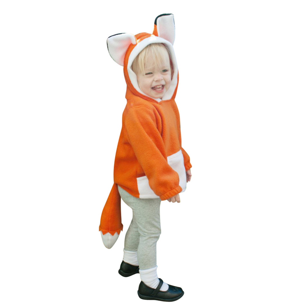 Cute Fox Warm Cotton Long Sleeve Clothes Baby Coat Kids Toddlers Spring Tops Cotton Soft Clothes Hoodie Fleece Coat with Tail