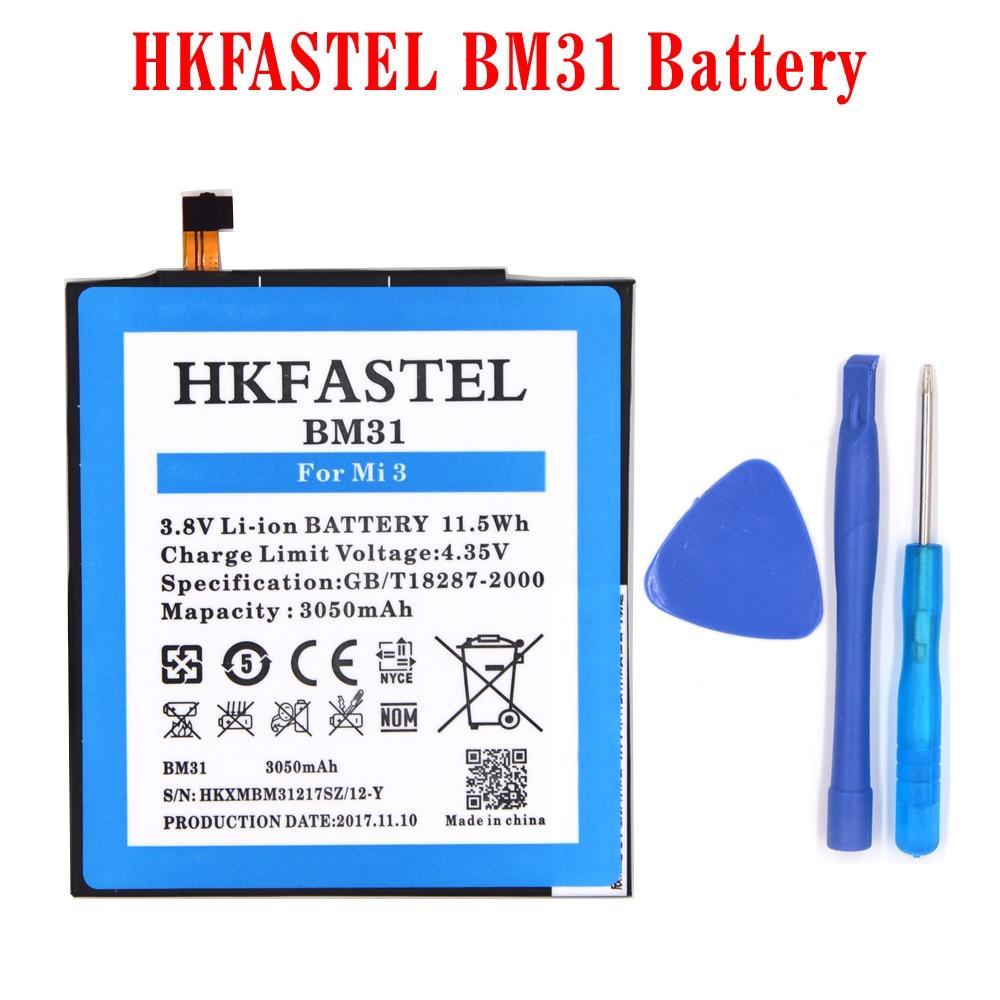 HKFASTEL New BM31 original mobile phone battery For Xiaomi Mi3 Mi 3 Replacement batteries parts 3050mAh