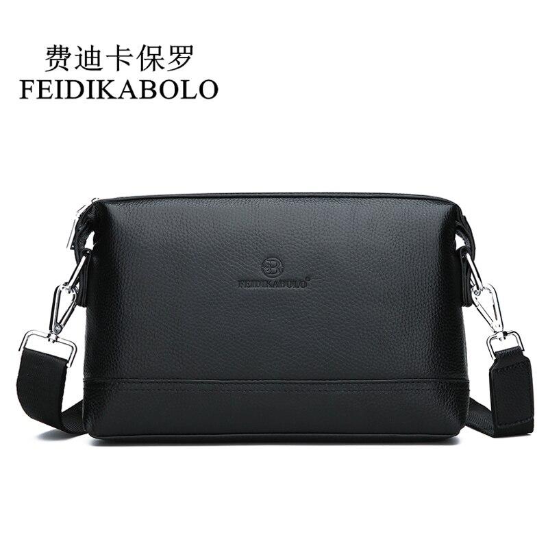 купить FEIDIKABOLO NEW Genuine Leather Shoulder Bags Men Messenger Bag Promotional Small Crossbody Bag Business Man Bag Multifunction онлайн