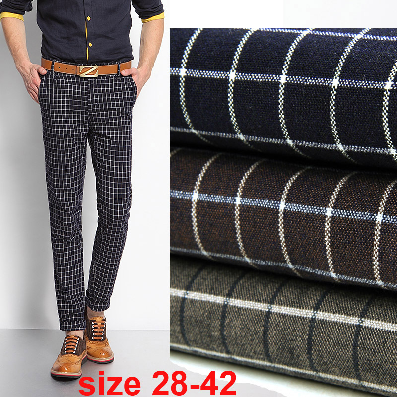Brand-new large size 28 42 Mens plaid pants stretch autumn comfortable  GQ42