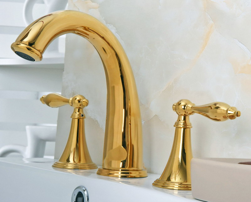 Здесь продается  Deck Mounted 3 Holes Bath Tub Mixer Tap Gold Color Polished Brass Widespread 2 Handles bathroom basin Faucet agf020  Строительство и Недвижимость