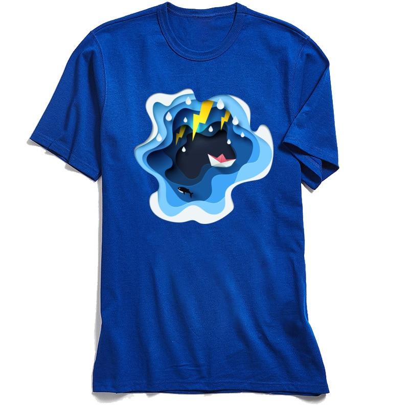 Paper Art Tops Shirts Family Round Neck Europe Short Sleeve 100% Cotton Fabric Mens T Shirt Summer Top T-shirts Paper Art blue