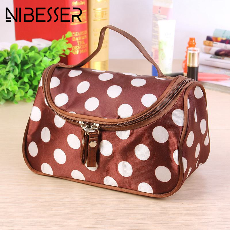 NIBESSER Dot Cosmetic Bag Simple Travel Organizer Portable Beauty Pouch Toiletry Zipper Bag 2017 Fashion Makeup Make Up Wash Bag hot newest dot portable travel cosmetic bags make up case pouch toiletry wash organizer makeup bag organizador necessaire