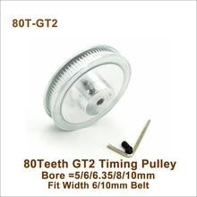 POWGE 80 зубы 2GT зубчатый шкив Диаметр 5/6/6,35/8/10 мм подходящие Ширина 6/10 мм GT2 зубчатый ремень 3D-принтеры 80 зубы 80 T GT2 зубчатый шкив