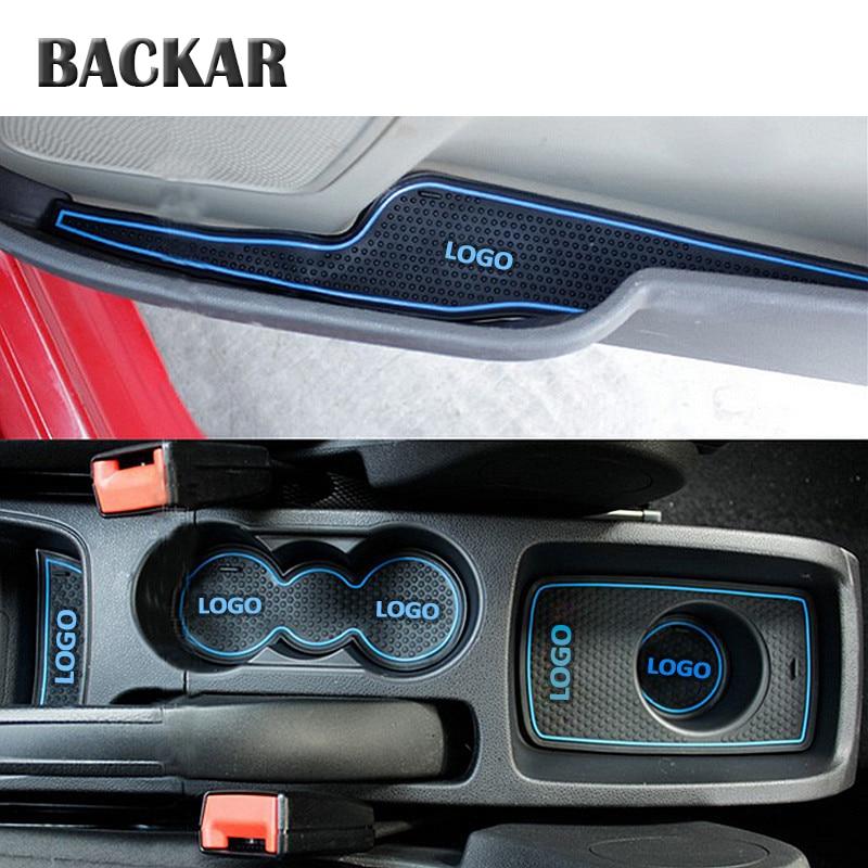 BACKAR Auto Car Anti-slip Cup Mat Door Slot Pad Interior Decorations For Ford Fiesta 2009 2010 2011 2012 2013 2014 Accessories