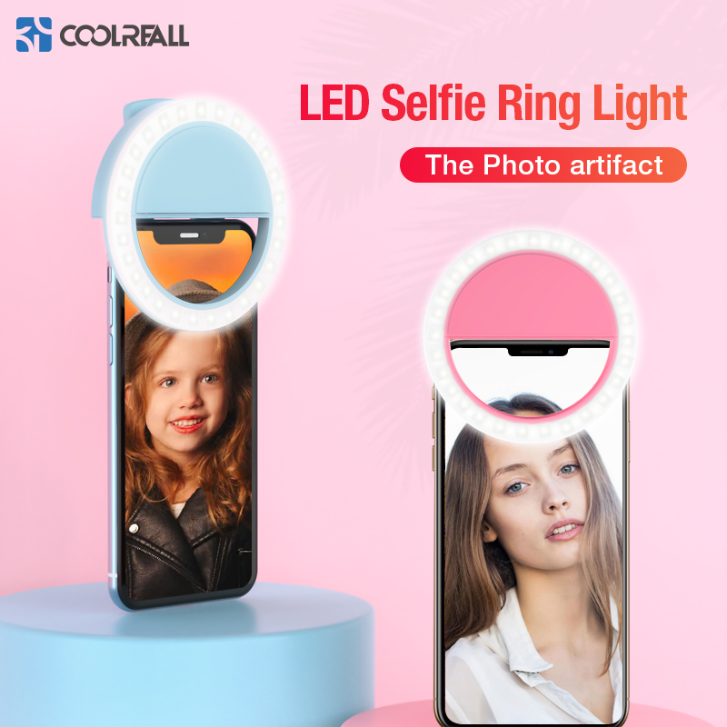 Coolreall lampe LED pour selfies Portable téléphone Portable pince lampe pour iPhoneiPhone XR XS Max Samsung s10 note9 LED anneau Selfie LED anneau