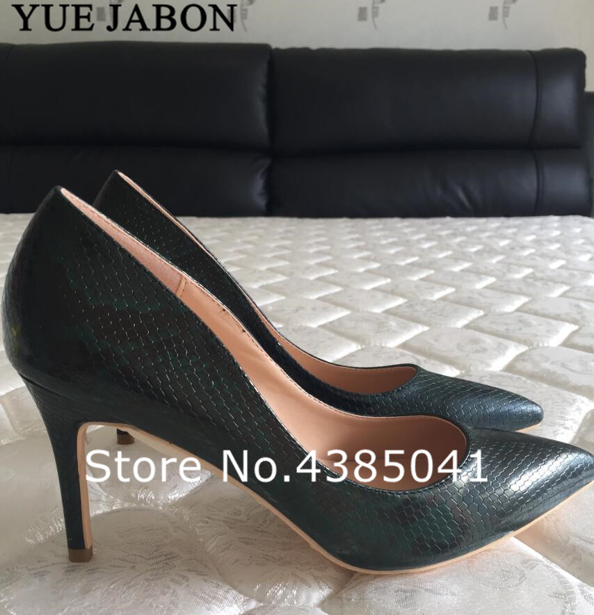 YUE JABON Dark Green Lady Thin Heel Pumps Shoes High Heeled Single Woman Shoes Shallow Mouth