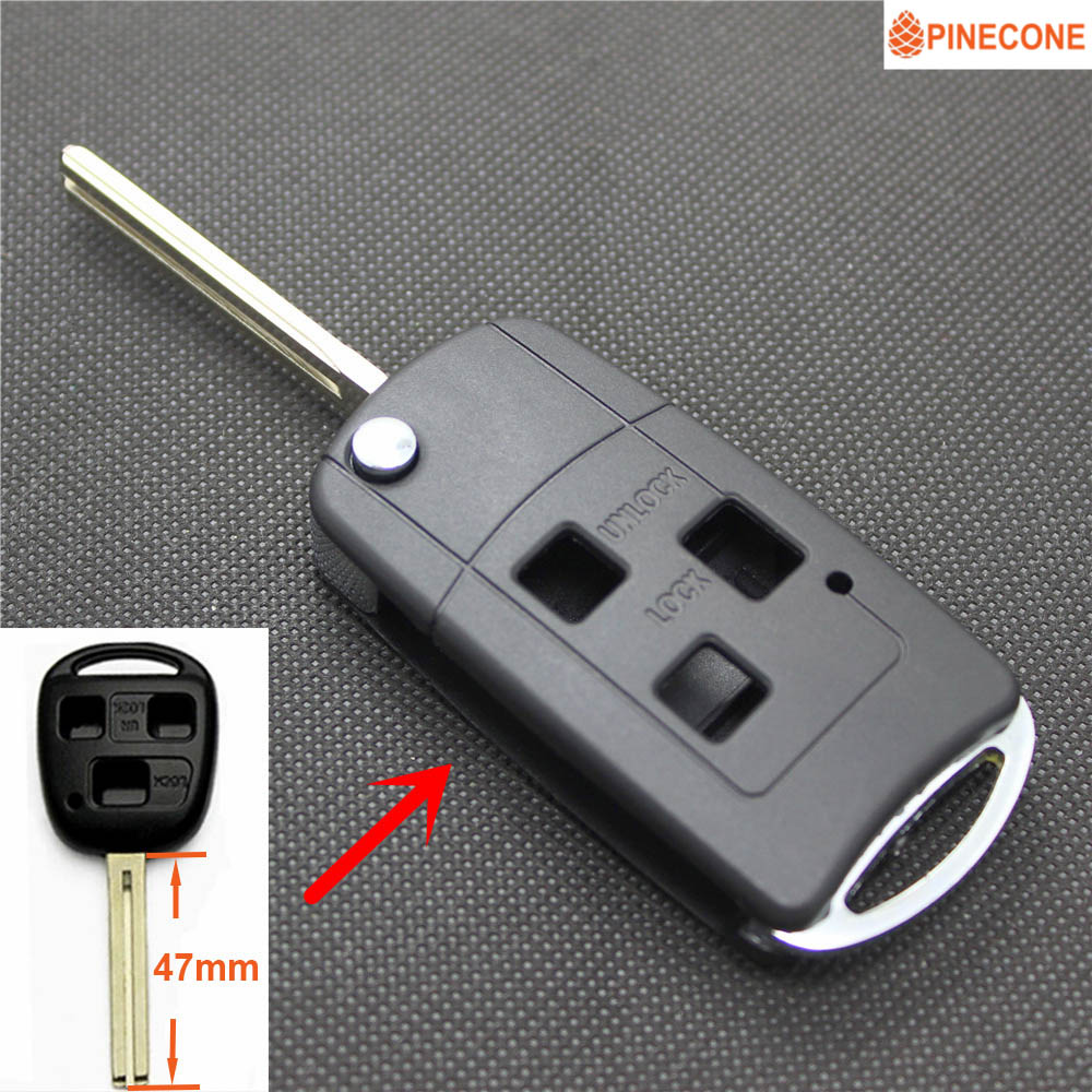 PINECONE Key Case for <font><b>LEXUS</b></font> IS GS ES LS RX IS200 <font><b>RX300</b></font> Key 3 Buttons Uncut TOY40 Blade Modified Remote Blank Key Shel Fob image