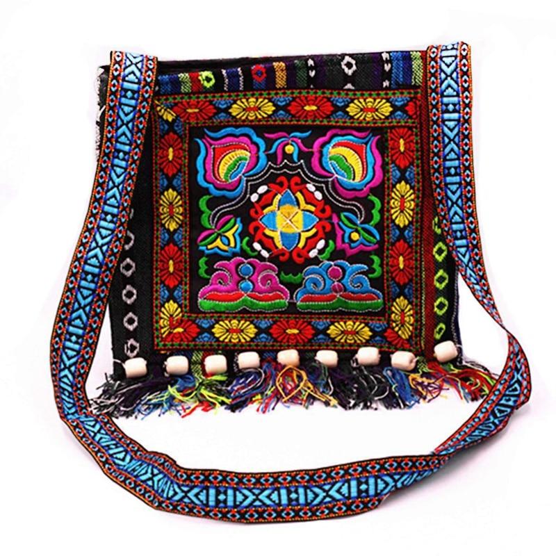 Ethnic-Shoulder-Bag Tassel Tote Embroidery Messenger National-Style Boho Hippie Vintage