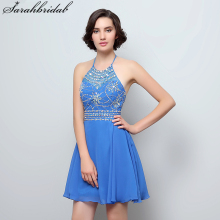 Sweety Charming Homecoming Dresses with Ball Gown Halter Backless Zipper Chiffon Sequins Beading Crystal homecoming short SD394
