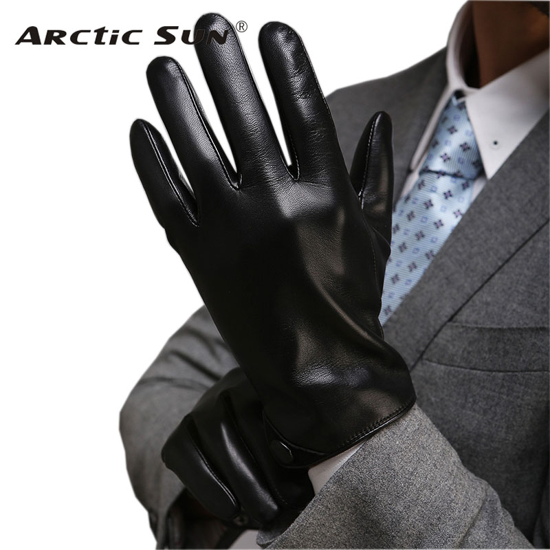 Men Classic Black TouchScreen Leather Gloves Warm Fashion Winter Genuine Goatskin Driving Glove Five Finger M001NC2