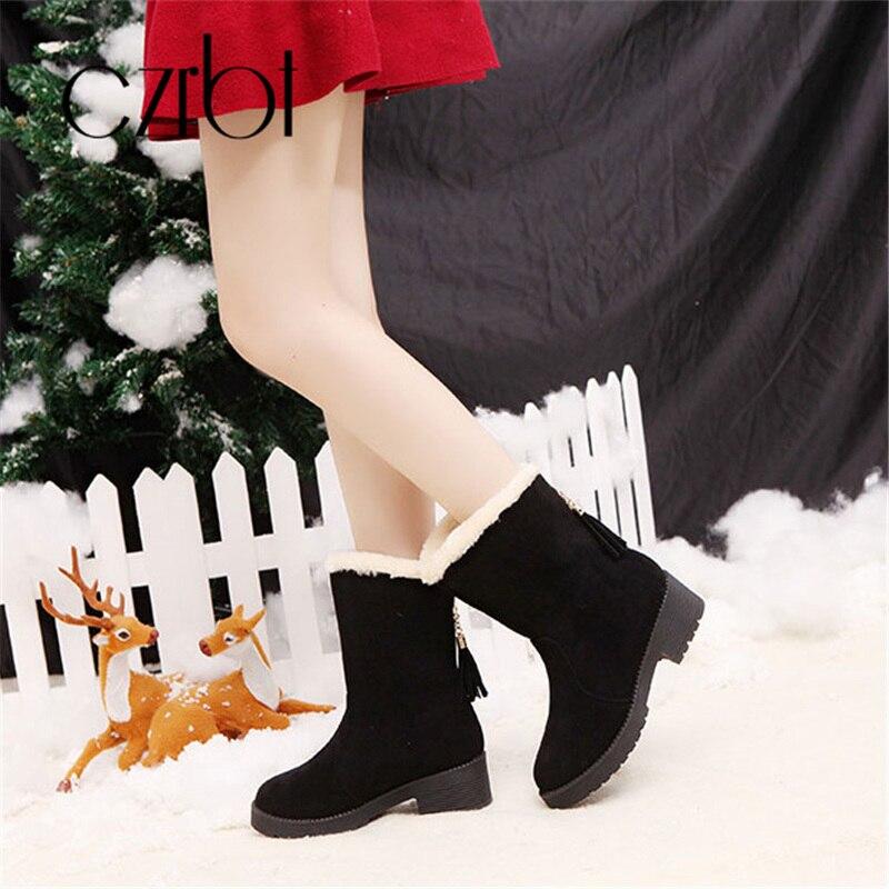 Non 2018 Noir Au En La Garder slip Chaud Mi Bottes De Chaude Femmes Veau Mode Peluche Épaissie Czrbt Dames Loisirs D'hiver À rouge Chaussures marron Bw6qxnYd