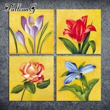 FULLCANG diy 4pcs diamond painting lily & rose flowers 3d mosaic cross stitch handmade embroidery full square drill G1149
