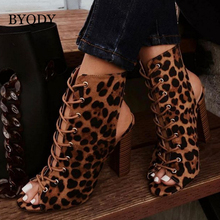 BYQDY Women Lace Up Boots Snake Print Leopard Ankle Square Heel Fashion Pointed Toe Ladies Shoes 2019 New Chelsea