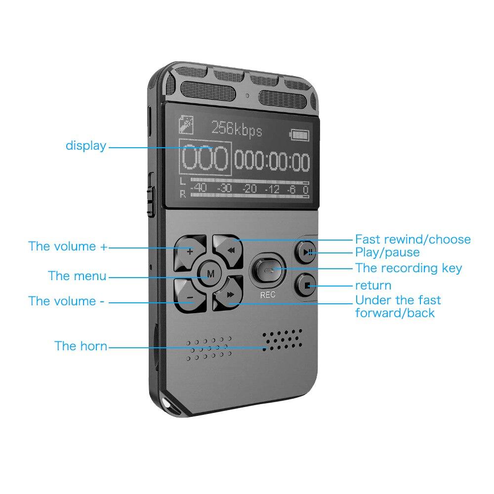 Enregistrement Audio numérique 8 GB enregistreur vocal USB professionnel 72 heures Dictaphone avec lecteur MP3 WAV pour conférences réunions - 5
