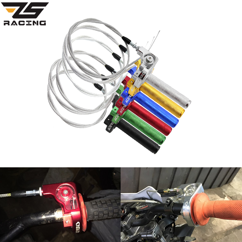 ZS Racing 7/8'' 22mm Motorcycle Grips Settle Twist Throttle Clamp With Throttle Cable For Dirt Pit Bikes ATV Offroad Quad