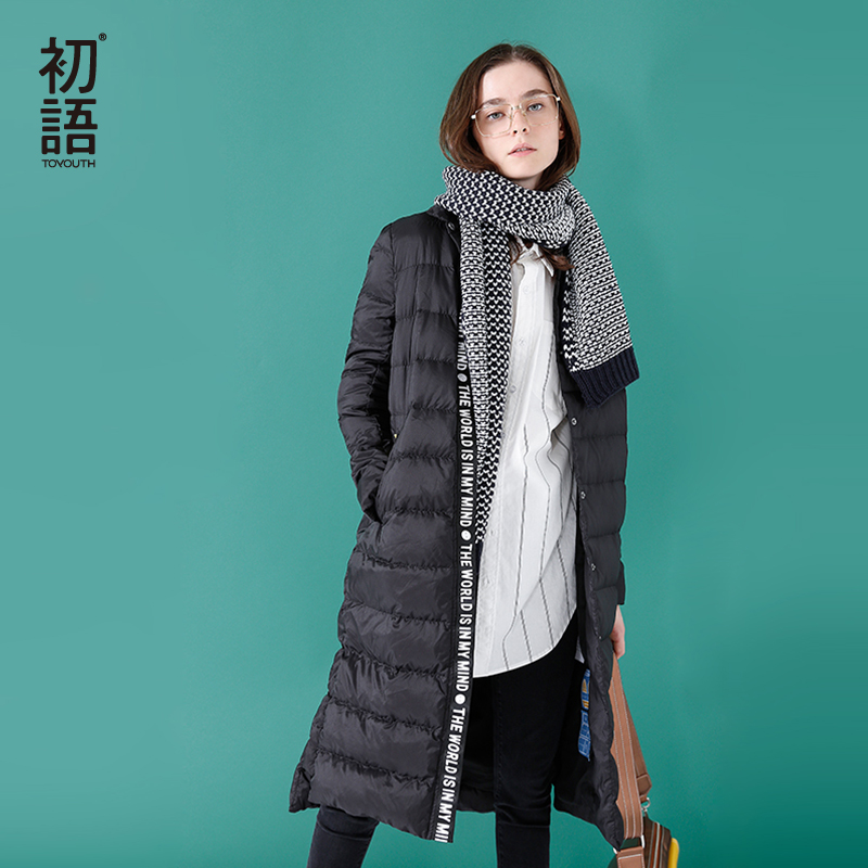 Toyouth   Down     Coats   2017 Winter New Arrival Thick Long Turndown Collar Letters Printing Casual   Down     Coat