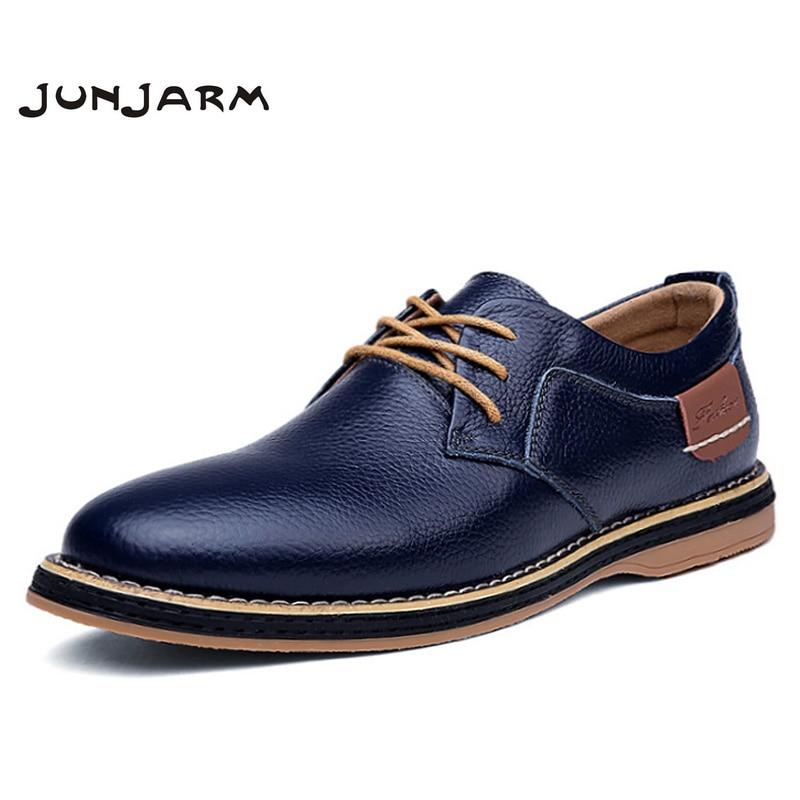 JUNJARM 100% Genuine Leather Men Dress Shoes Fashion Men Formal Shoes Quality Men Oxfords Shoes Office Men Business Shoes