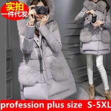 Plus Size Down Jacket Women Long Fur Hooded Winter Thick Parka faux Fox Fur Coats Black Pink S-5XL Xxxxl Elegant Collars Parkas