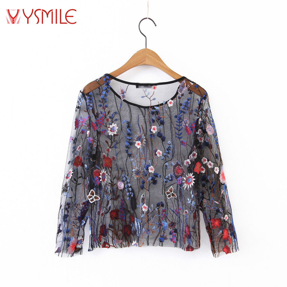 YSMILE Y Women Embroidery Floral Shirts Fashion Summer Lady O Neck Mesh Blouse Sexy Perspective Colorful Flower Tops Shirt