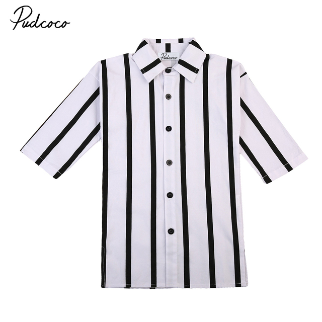 Fashion Kids Toddler Girls Brief Black White Stripes Dress Vestidos
