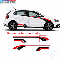 Racing Sport Styling Vinyl Sticker Car Door Strips Stickers Auto Body 3 5 Doors Customized Decal For Volkswagen Golf POLO UP