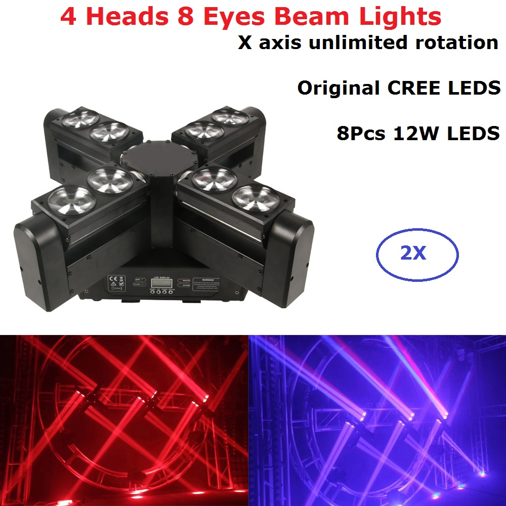 2XLot Moving Head LED Beam Stage Lighting 8X12W RGBW 4IN1