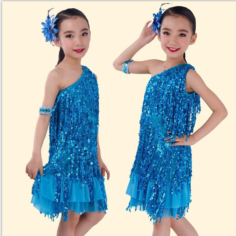 2016 New Girls Sequined Latin Salsa Tasseled Dance Dress Kids Party Dancewear Costume Vestidos Ballroom Samba Carnival Costumes