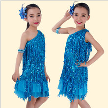 2016 New Girls Sequined Latin Salsa Tasseled Dance Dress Kids Party Dancewear Costume Vestidos Ballroom Samba Carnival Costumes