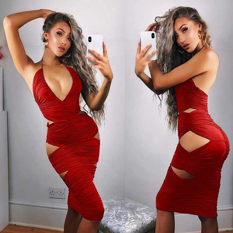 0784e8661b2 ... Nightclub Halter Holes Party Dress Women Sexy V Plunging Neck Push Up  European Style Bodycon Dresses