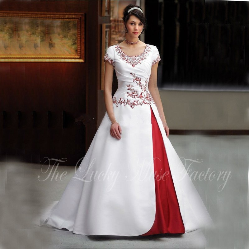 Red And White Wedding Dresses With Sleeves: Red And White Wedding Dresses 2017 Gothic Beaded